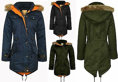 New Kids Children Girls Parka Quilted Coat Fishtail Jacket Long Winter Warm Hood