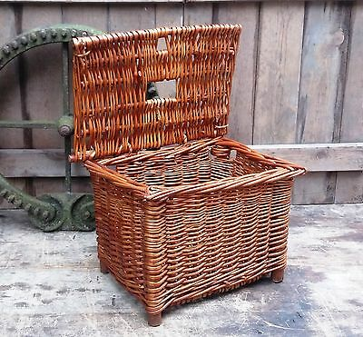 Small Rustic Vintage Wicker Fishing Basket/Creel Tackle Storage Box/Hamper -Prop