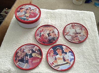 Coca-Cola tin with set of 4 drink coasters