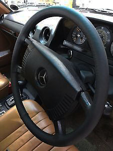 For Mercedes-Benz W123 76-84 Real Black Italian Leather Steering Wheel Cover