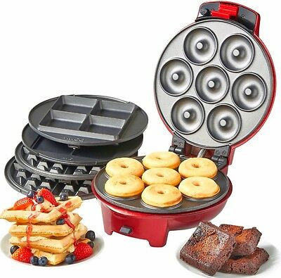 3 in 1 Mini Doughnut Waffle Iron Brownie Sweet Snack Maker Non-Stick