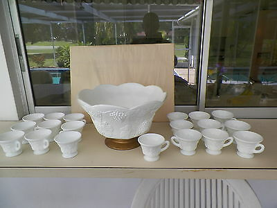 Colony Harvest Grape & Leaf Milk Glass Punch Bowl Set 19 Cups