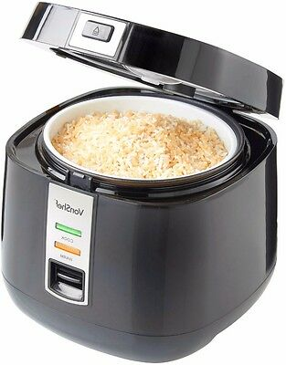 Automatic Rice Cooker Non-Stick Electric Pot Warmer and Steamer Black 1.8L