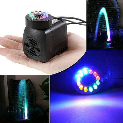 Submersible Pump with 12 Colored LED Light for Aquarium Fountain Hydroponics NR