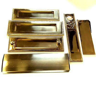 Solid Polished Brass Georgian Style Letter Plates - Internal Flap Tidy Covers