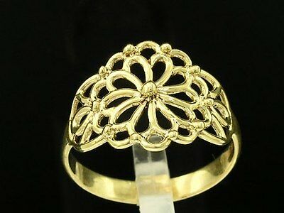 R011- Lovely Genuine 9ct Solid Yellow Gold Filigree Blossom Flower Ring size M