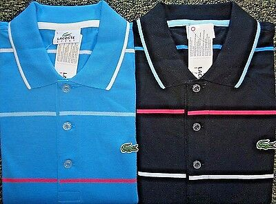 New Mens Lacoste S/S Jersey Polo W/ Wide-Spaced Stripes Shirt, Pick Color & Size