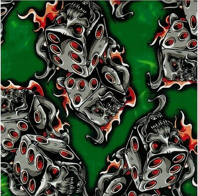 Hydrographic Water Transfer Hydrodipping Film Hydro Dip Flaming Dice Green