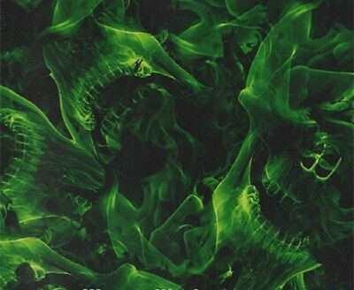 Hydrographic Water Transfer Hydrodipping Film Extreme  Flames Green Skull