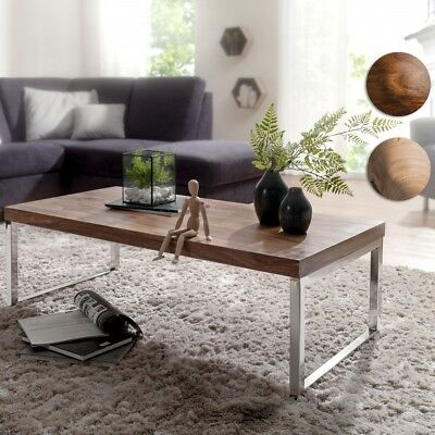 FineBuy coffee table solid wood 120 cm living room table design brown side table