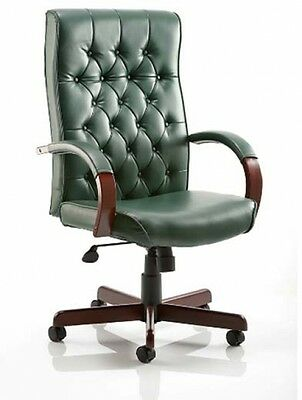 Chesterfield Green Colour Office Chair Executive Swivel Rotating PC Computer NEW