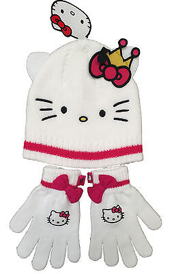 Girls Hello Kitty Hat & Gloves 2Pc Set Knitted White Ex Store 8-10Y Bnwt