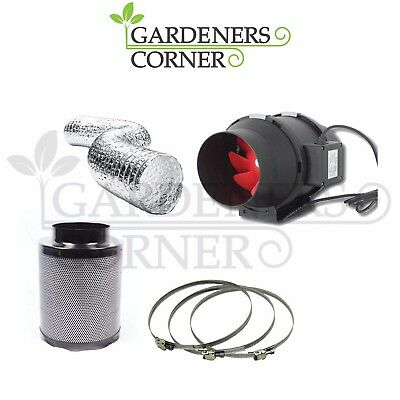 "Hydroponics Grow Set Carbon Filter Twin Speed Extractor Fan Kit 100mm 4"" UK"