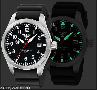 KHS Watches Pilot Watch Airleader Steel Analog Date Black Diver Band KHS.AIRS.DB