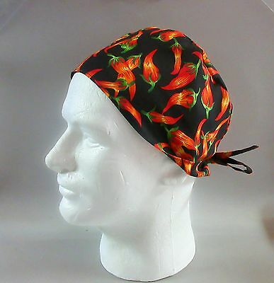 HOT PEPPERS ON BLACK: Surgical Scrub Hat, Chefs Hat, Skull Cap - M43