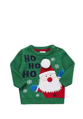 Baby Boys Girls Infants Ho Ho Ho Slogan Knitted Christmas Xmas Jumper 0-24 Month