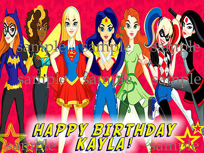 SUPERHERO Girls Party Edible ICING Image Photo CAKE Topper Decoration FREE SHIP
