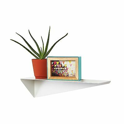 Modern Contemporary Angular Reversible White Metal Stealth Wall Display Shelf