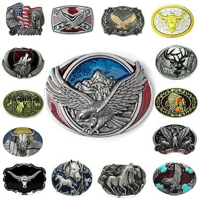 Rodeo American Flag Flying Eagle Belt Buckle Lot Animal Vintage Western Cowboy