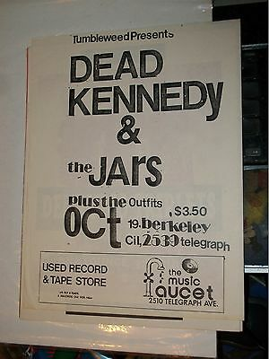Dead Kennedys Jars OutFits Early Gig Flyer Music Faucet Berkeley TumbleWeed Show