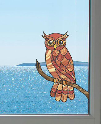 "CLR:WND - Curious Owl - Stained Glass Style Vinyl Decal ©YYDC LG 9.8""w x 12.8""h"