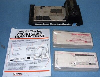 Vintage U Haul Manual Credit Card Machine Imprinter & Sales Slips & U Haul Flyer
