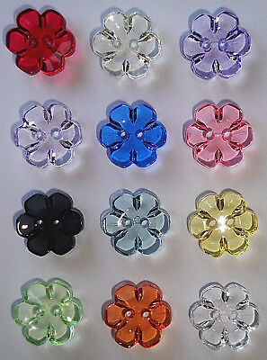 6 See-Through Flower Buttons - Many Colours and Sizes