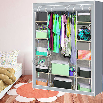 Double Triple Multiple Canvas Wardrobe Cupboard With Hanging Rail Shelf Silver