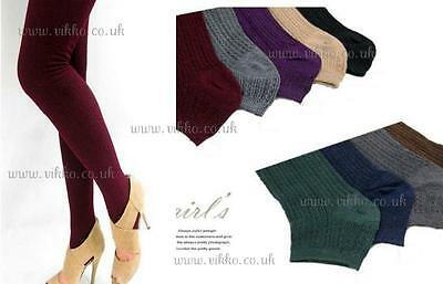 Winter Shimmer Cable Knit Stirrup Tights