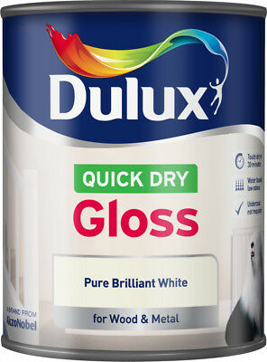 Dulux Quick Dry Gloss Paint - 750ml Pure Brilliant White For Wood & Metal