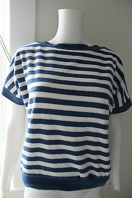 Vintage Women's 1970s Terry Cloth Striped Boat Neck Top M-L
