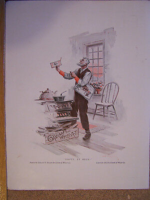 """Cream Of Wheat Ad 10""""x14"""" 1915 """"empty, By Heck"""""""