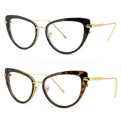 Cat Eye Clear Lens Glasses Metal Gold 50s Vintage Women Retro Eyeglasses