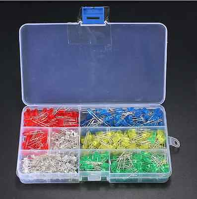 Assorted Color LED Light DIY Diodes Kit 500PCS 5MM White Yellow Red Blue Green
