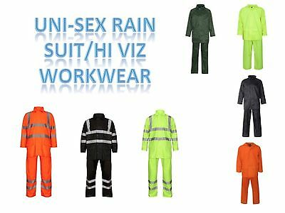 Mens Ladies Unisex Hi Viz Overall Hooded Waterproof Pvc Rain Suit Work Wear
