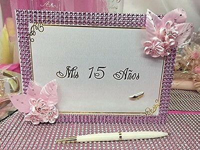 Mis Quince Anos Pink Guest Book with Pen Keepsake Sweet 15 Spanish Birthday