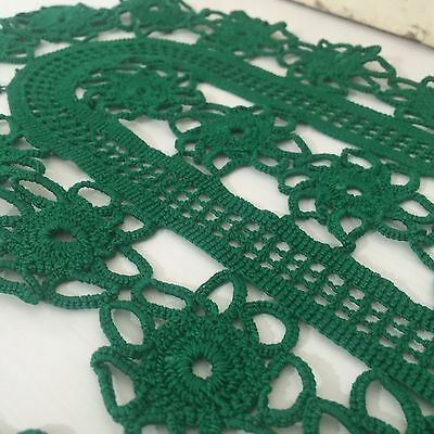 GREEN Crochet DOILY Stunning COLOUR Vintage Chic Home PAIR x 2