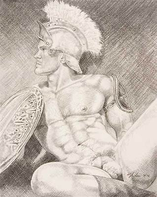 "9"" x 12"" drawing print nude male helmet with shield gay interest"