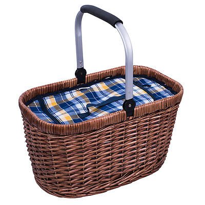 NEW Avanti Blue & Yellow Check Insulated Carry Basket