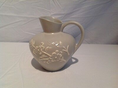 "Beautiful Stangl Pottery, ""Appliqué"" pattern, sage colored, pitcher"