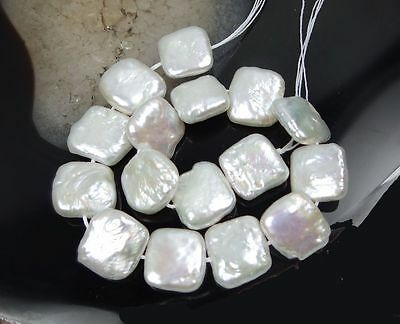 1 Strands 11-12mm luster White coin freshwater pearls Square Loose Bead 14.5""