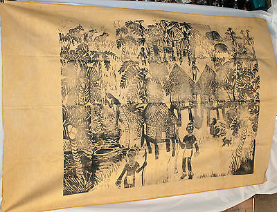African Village Life Block Print Textile Art Cloth Fabric Wall Hanging Decor