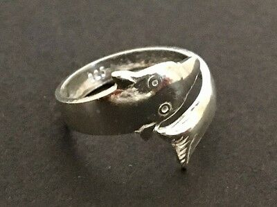 Genuine 925 Sterling Silver Fish Toe Ring Adjustable Dolphin