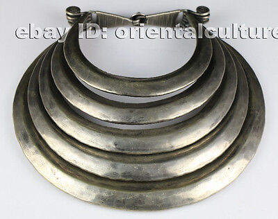Tribal exotic chinese handmade miao silver 5rings necklace
