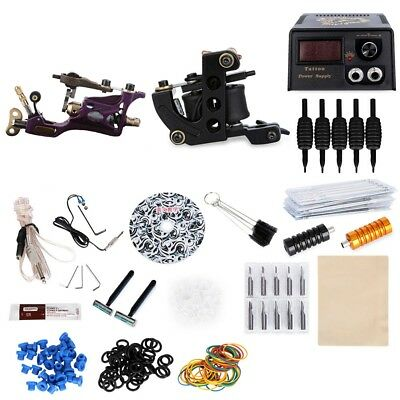 Complete Tattoo Kit 2 Rotary Motor Liner Gun 20 Colors Inks Power Supply System