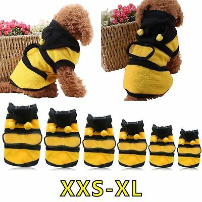 Bee Pet Puppy Coat Apparel Outfit Fleece Clothes Dog Cat Hoodie Fancy Costume