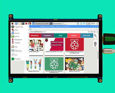 """7"""" 1024x600 HDMI Capacitive Touch Screen TFT LCD Display For Raspberry Pi Win 10"""