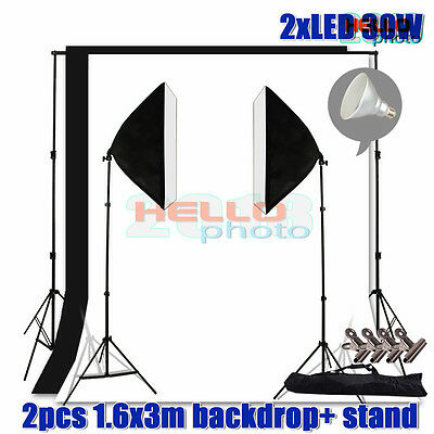 Photography Studio LED Bulb Softbox Lighting Soft Box Light Backdrop Stand Kit