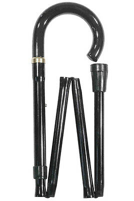 Black Crook Handle Folding Walking Stick By Classic Canes