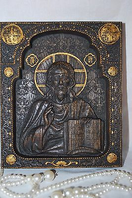 """Our Lord Jesus Wood Carved Icon christian  gift 7""""x9"""" FREE ENGRAVING"""